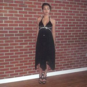 ABS Allen Schwartz Rhinestone Halter Hanky Dress